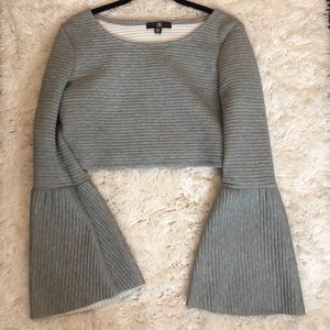 Bell sleeve ribbed crop top